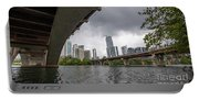 Urban Skyline Of Austin Buildings From Under Bridge With Stormy  Portable Battery Charger