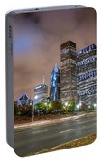 View Of Chicago Skyscrappers With Busy Street In The Foreground Portable Battery Charger