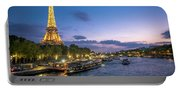 View Of The Eiffel Tower During Sunset From The Scene River Portable Battery Charger