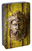 Viking Mask On Old Door Portable Battery Charger
