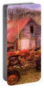 Vintage At The Farm Watercolors Painting Portable Battery Charger