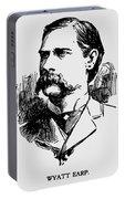 Vintage Newspaper Wyatt Earp Portrait 1896 - T-shirt Portable Battery Charger