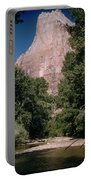Virgin River And Cliff In Zion National Park, Utah - Utah300 00303 Portable Battery Charger