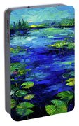 Water Lilies Story Impressionistic Impasto Palette Knife Oil Painting Mona Edulesco Portable Battery Charger