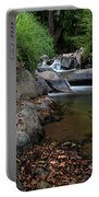 Water Stream On The River With Small Waterfalls Portable Battery Charger