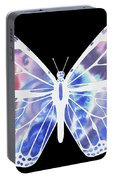 Watercolor Butterfly On Black V Portable Battery Charger