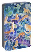 Watercolor - Fox And Firefly Design Portable Battery Charger