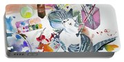 Watercolor - Kitten On My Painting Table Portable Battery Charger