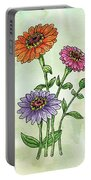 Watercolor Orange Pink Purple Zinnia Flowers Portable Battery Charger