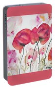 Watercolor - Poppy Portrait Portable Battery Charger