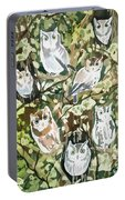 Watercolor - Screech Owl And Forest Design Portable Battery Charger