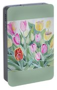 Watercolor - Spring Tulips Portable Battery Charger
