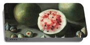 Watermelons And Figs On A Stone Ledge  Portable Battery Charger