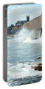Waves Crashing Against Sea Wall Portable Battery Charger
