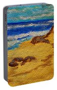Waves On A Rocky Beach Portable Battery Charger