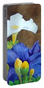 White And Purple Petunia And Marigolds Portable Battery Charger