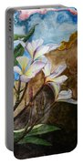 White Flower With Abstract Background Portable Battery Charger