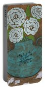 White Roses In Teal Vase Portable Battery Charger