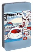 White Tea In Blue And White Portable Battery Charger