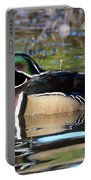 Wild Wood Duck On The Old Mill Pond  Portable Battery Charger