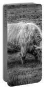 Windblown In Scotland Black And White Portable Battery Charger