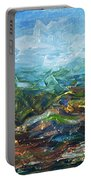 Windy Day In The Grassland. Original Oil Painting Impressionist Landscape. Portable Battery Charger