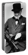 Winston Churchill With Tommy Gun Portable Battery Charger