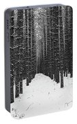Winter Forest In Black And White Portable Battery Charger