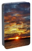 Winter Sunset Over Grand Island Portable Battery Charger