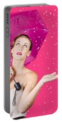Woman With Umbrella Portable Battery Charger