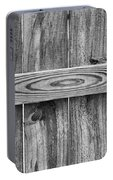 Wood Grain Black And White Portable Battery Charger