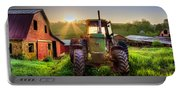 Working John Deere In The Morning Sunshine Portable Battery Charger