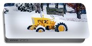Yellow Tractor In The Snow Portable Battery Charger