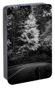 Yellow Tree In The Curve In Black And White Portable Battery Charger