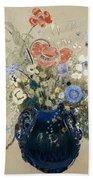 A Vase Of Blue Flowers Beach Towel by Odilon Redon