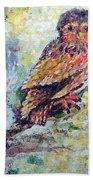 Acrylic Painting Fuzzy Yellow Owl  Beach Towel