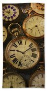 Aged Pocket Watches Beach Towel