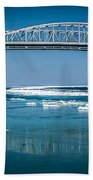 Blue Water Bridges With Reflection And Ice Flow Beach Towel