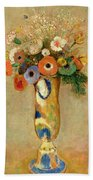 Flowers In A Painted Vase Beach Towel by Odilon Redon