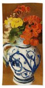 Geraniums And Other Flowers In A Stoneware Vase Beach Towel
