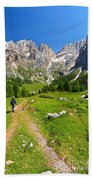 Hiking In Contrin Valley Beach Towel