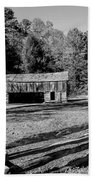 Historical Cantilever Barn At Cades Cove Tennessee In Black And White Beach Towel by Kathy Clark