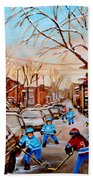 Hockey Art- Verdun Street Scene - Paintings Of Montreal Beach Towel