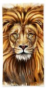 Lion Head In Front Beach Towel