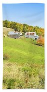 Maine Farm On Side Of Hill In Autumn Beach Towel