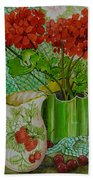 Red Geranium With The Strawberry Jug And Cherries Beach Towel
