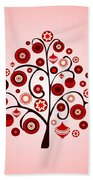 Red Ornaments Beach Towel