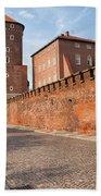 Sandomierska Tower And Wawel Castle Wall In Krakow Beach Towel
