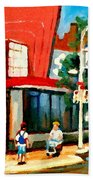 Steinbergs Grocery Store Paintings Vintage Montreal Art Order Prints Originals Commissions Cspandau Beach Towel