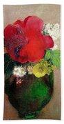 The Red Poppy Beach Towel by Odilon Redon